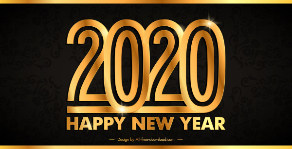 2020 new year banner modern sparkling golden numbers 6842361
